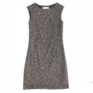 LOFT Animal Print Side Shirred Jersey Sheath Dress